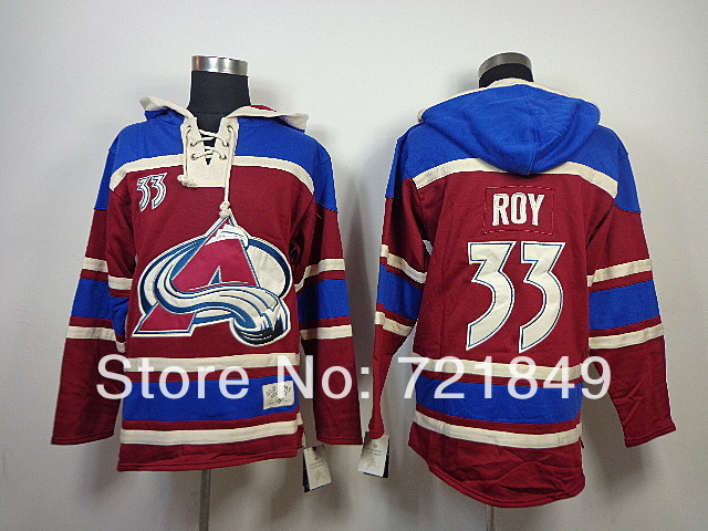 Retail Factory Price Colorado Avalanche 33 Patrick Roy Fleece Hooded Mens Jersey Old Time Hockey Hoodies Sweatshirts