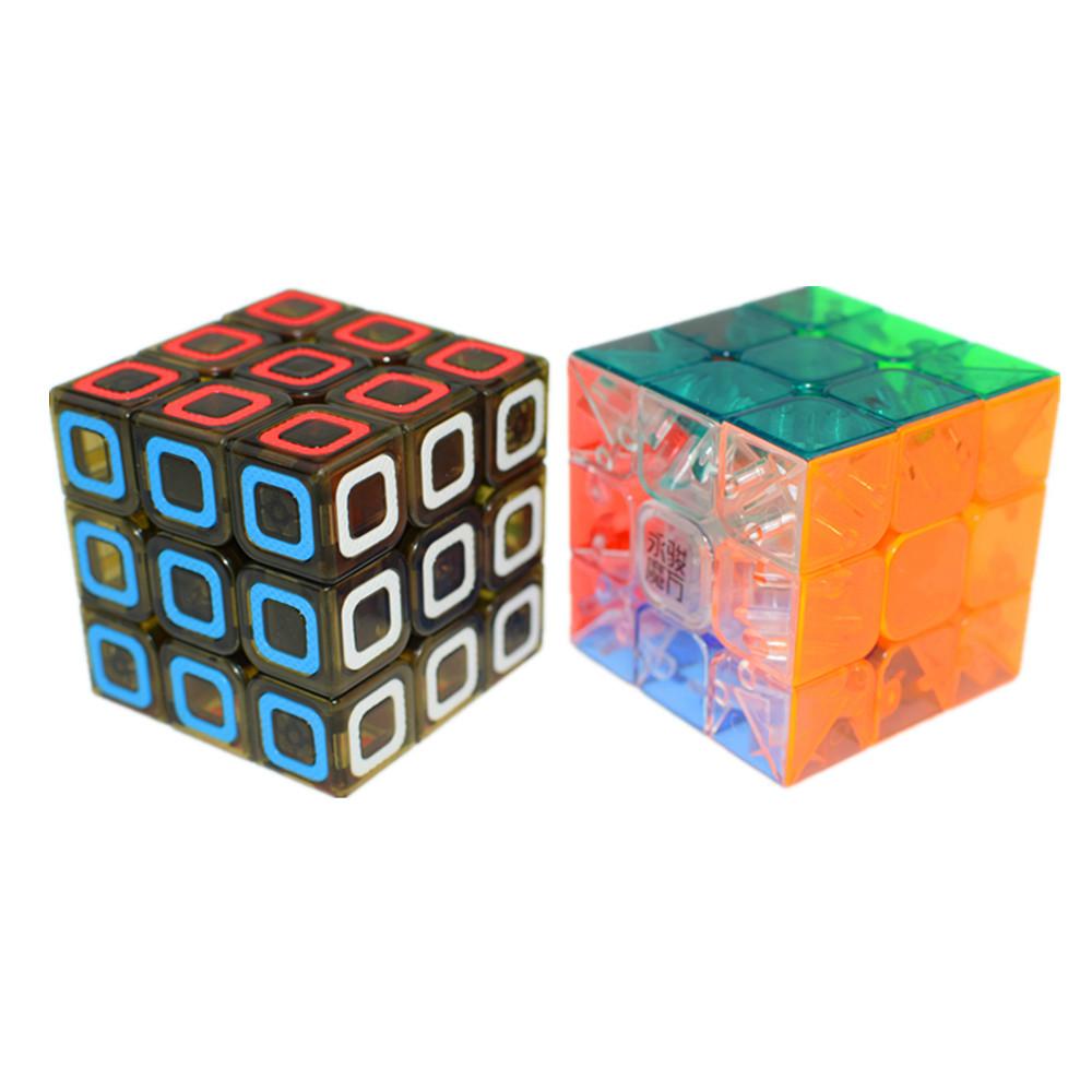 cubo magico Speedcubing Bundle YJ Yulong Transparent & QiYi Dimension 3x3 Transparent Black Magic cube Yongjun Yulong Puzzle(China (Mainland))