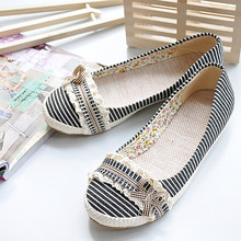 Big Size 34-43 2015 Ladies Dress Casual Sweet Mary Jane Flats Ballet Flats Fashion Spring Summer Shoes Cotton Lace New Arrival