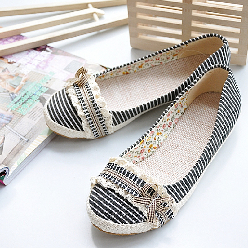 Big Size 34-43 2015 Ladies Dress Casual Sweet Mary Jane Flats Ballet Flats Fashion Spring Summer Shoes Cotton Lace New Arrival(China (Mainland))