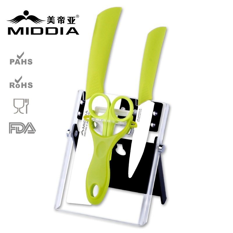 Buy Middia 5pcs Ceramic knife set with block for kitchen fruit knife or food scissors or cleaver knife cheap