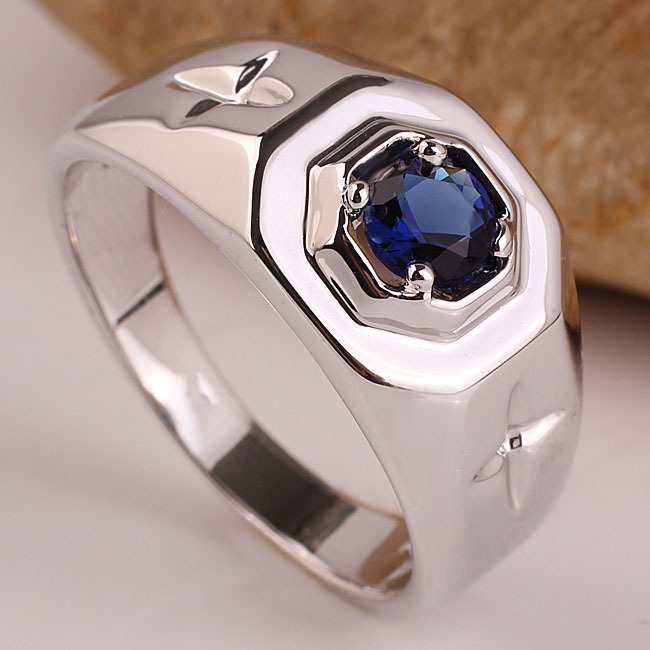Fashion Brand Blue Sapphire Rhodium Plated Men's Real Sterling Silver Ring Custom Sizes Engaving Service R524(China (Mainland))
