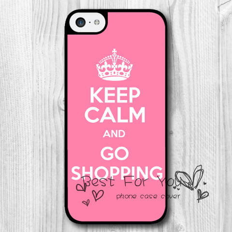 Keep Calm Go Shopping Pink Protective Hard Skin Mobile Phone Cases Bags For iPhone 6 6s 6 plus 5c 5s 5 4 4s Case Cover Original(China (Mainland))