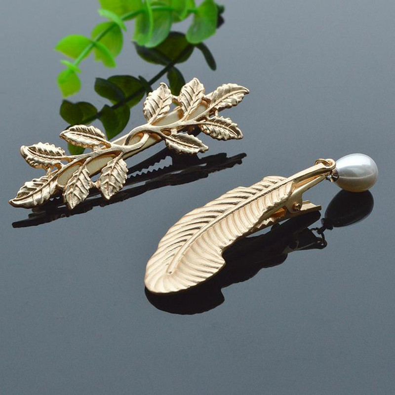 Simple Alloy Feather Or Leaves Hairpins Clip Korean Fashion New Women Hair Clip For Girl Cute Barrette Gift Accessories Hot Sale(China (Mainland))