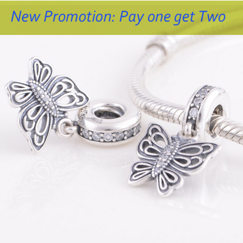 Promotion LW371 Butterfly Dangle Pendant beads 925 Sterling Silver Screw Thread Charms compatible European Pandora Bracelet - hamaqi188's store