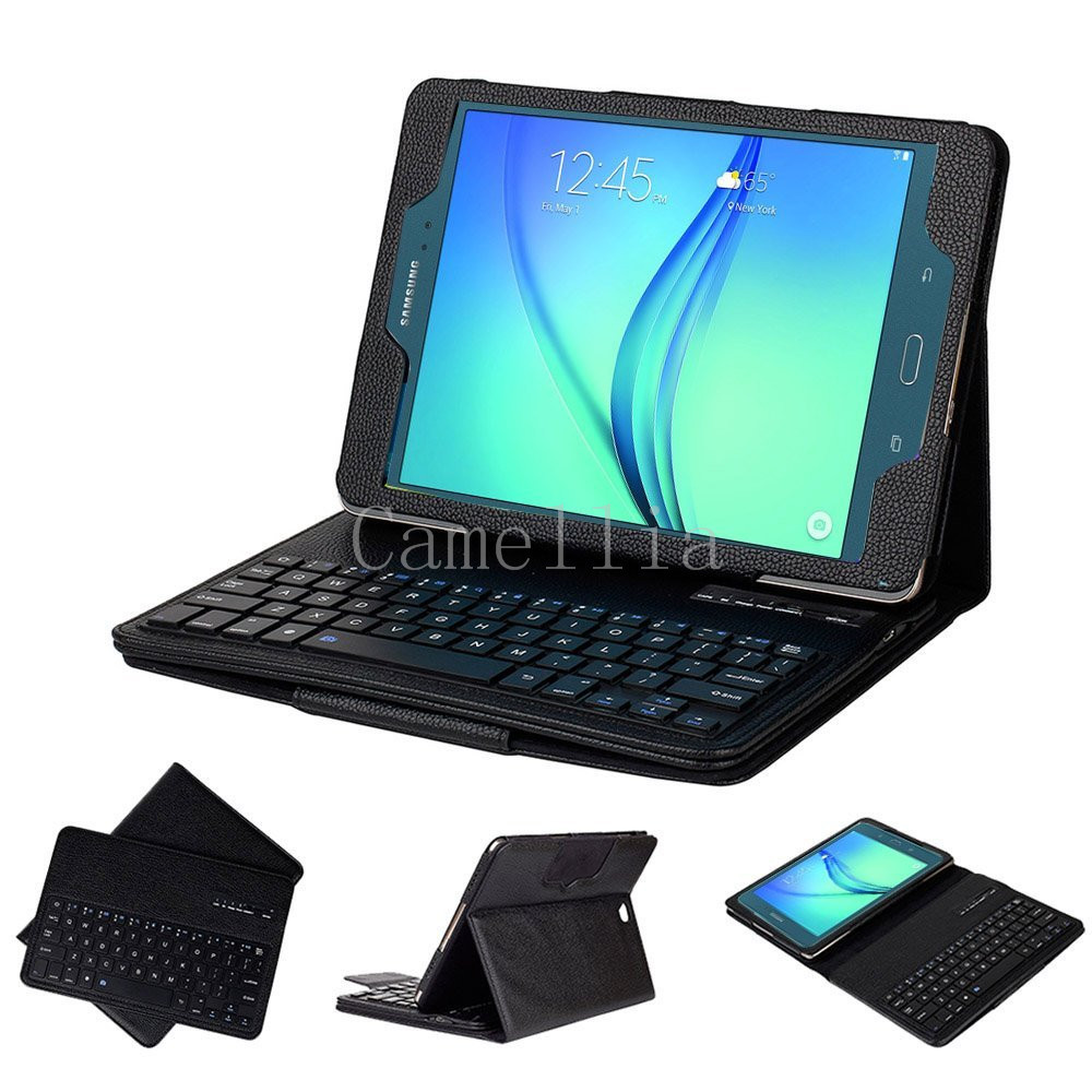 """Ultra Slim Detachable Bluetooth Keyboard Portfolio Leather Case Cover for Samsung Tab a 9.7"""" Inch T550 Tablet 2015 Edition(China (Mainland))"""