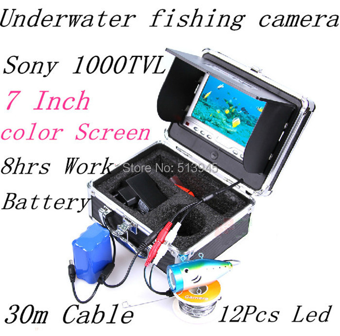 1000TVL 7 TFT Color LCD Underwater Fishing Camera Fishing finder Video Camera Aluminum Case 30m Cable With Rain Cover<br><br>Aliexpress