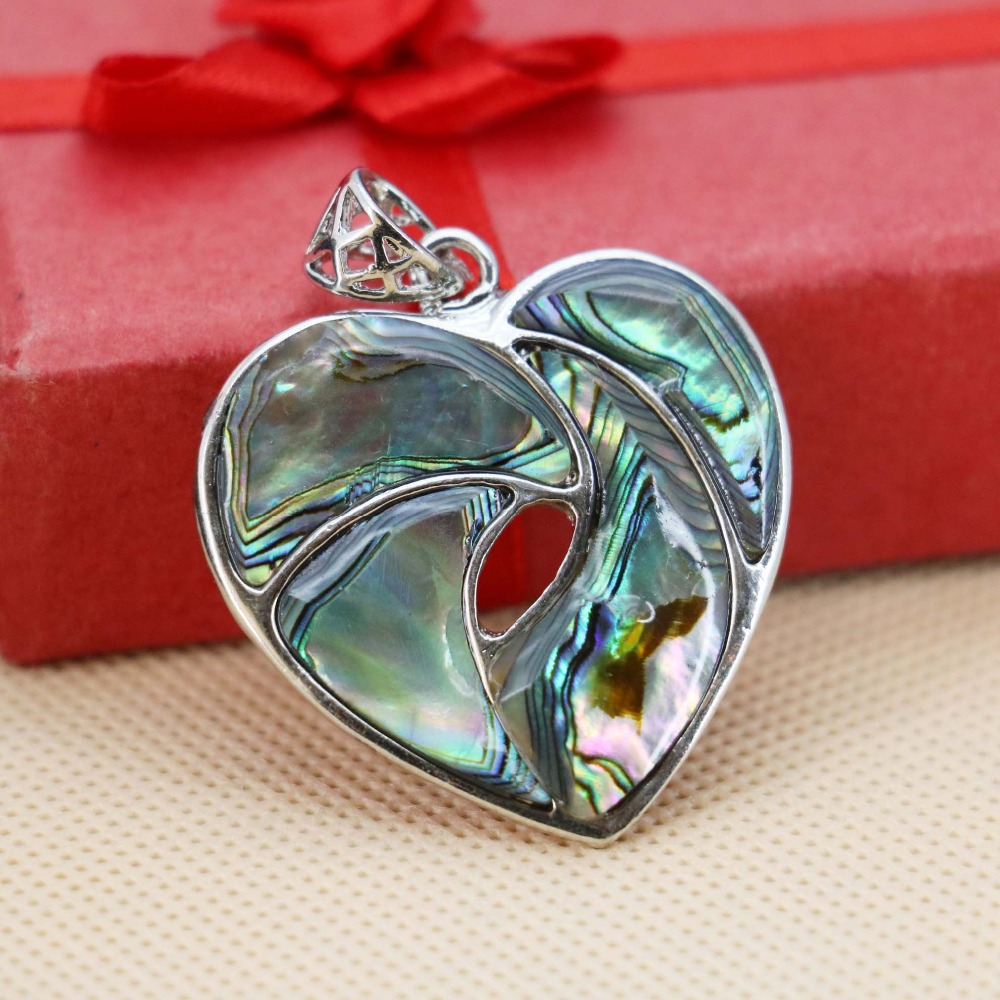 Hot sale 35mm Natural heart Abalone stripe seashells short pendants Women jewelry making crafts DIY delicate gifts Series(China (Mainland))
