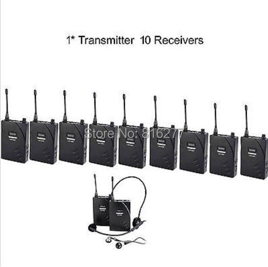 Hot Boutique Recommended UHF Wireless Tour Guide / Translation System 1 Transmitter 10 Receivers free shipping(China (Mainland))