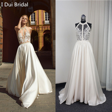 Buy Halter Bare Back Beaded Illusion Corset Wedding Dresses line Sexy Real Photo Factory Custom Made for $179.00 in AliExpress store