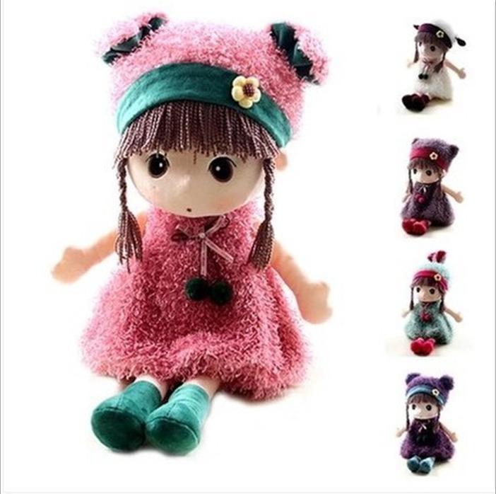 Fashion Stuffed Bonecas Cute Girls Toys 45cm Big Plush Dolls Kawaii Brinquedos Meninas Excellent Birthday Gift for Kids 4 colors(China (Mainland))