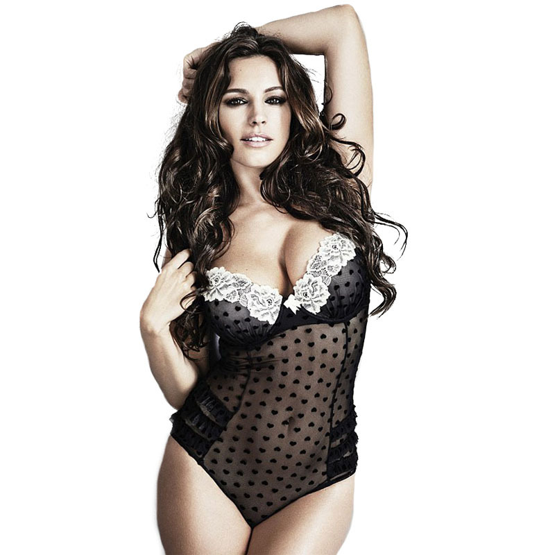 2015 New Sexy lingerie hot Erotic Lingerie Sleepwear Bedroom Black Mesh Lace Trim Padded Teddy Lingerie LC3228 Pajamas For Women(China (Mainland))