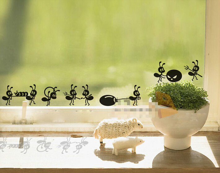 1PC 43*6cm small size glass window sticker cute ants move plastic stickers home decoration wall sticker children stickers~