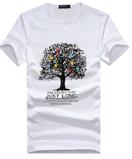 2015 new spring men's Korean style short sleeve t shirt fashion tree o-neck t shirt(China (Mainland))