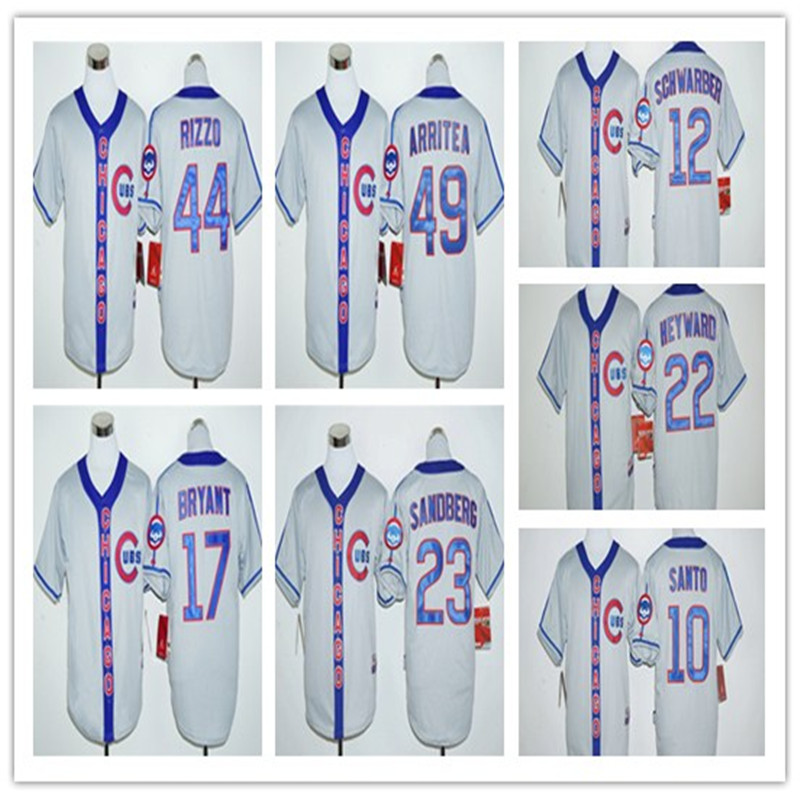 2016 Arrival Mens #17 Kris Bryant #44 Anthony Rizzo #49 Jake Arrieta Gray Jersey throwback baseball jersey(China (Mainland))