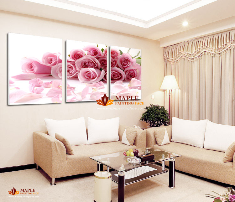 2015 Hot Sell 3 Pieces Pink Rose Home Decorative Wall Pictures For Living Roo