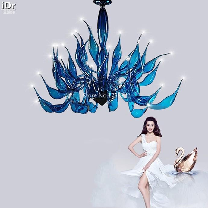 Купить Современная личность синего стекла лампы Лебедь Искусство Клуб Отель Ресторан Гостиная Спальня лампа Зал Люстры