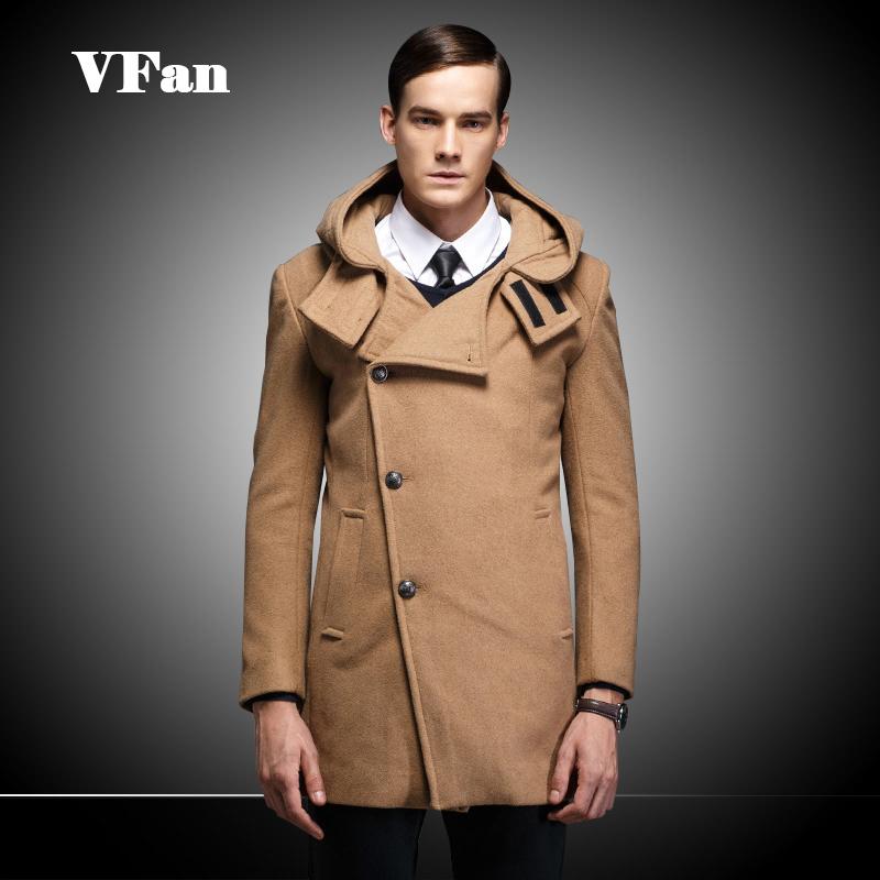 2015 Winter Warm Mens Woolen Jackets Slim Fit Hoodies Coat Casual Long Single Breasted Outwear Coats Z1502