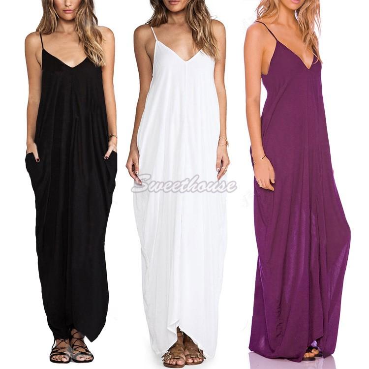 Summer Fashion Deep V-Neck Beach Dress 2015 White Long Dress Spaghetti Strap Backless Maxi Dress 12(China (Mainland))