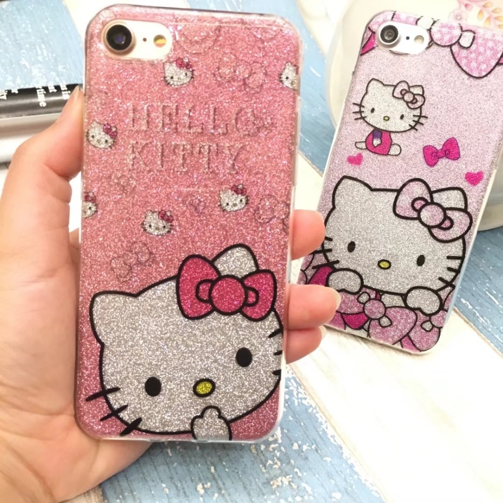 New TPU Soft Silicone Case hello kitty cover for iPhone 6 6s plus 7 7 Plus Bling Glitter Powder Shine Cell Phone Case(China (Mainland))