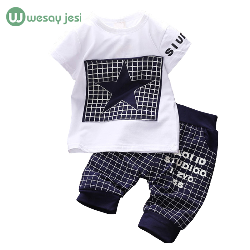 Baby boy clothes 2016 Brand summer kids clothes sets t-shirt+pants suit clothing set Star Printed Clothes newborn sport suits(China (Mainland))