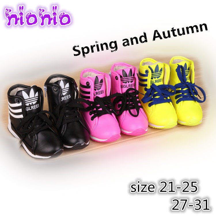 children spring and autumn kids casual candy color sriped lace-up boys fashion sneakers girls faux leather princess sport shoes(China (Mainland))
