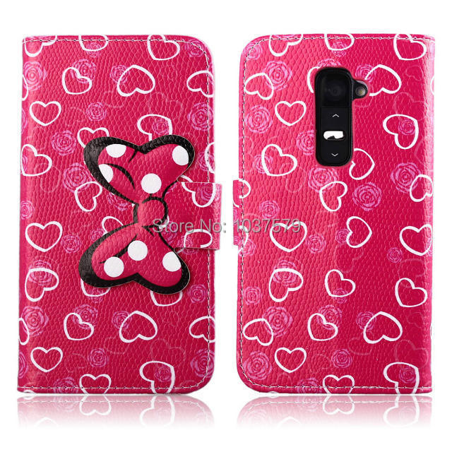 Fashion New Mickey Mouse Minnie Bowknot Leopard Dot Fresh Colorful Leather Skin Flip Case Cover For LG G2 D802 Wallet Book Style(China (Mainland))