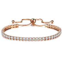 DIEZI חדש יוקרה שרשרת צמיד לנשים רוז זהב כסף מעוקב Zirconia צמידים & צמידי עבור בנות תכשיטי חתונה(China)