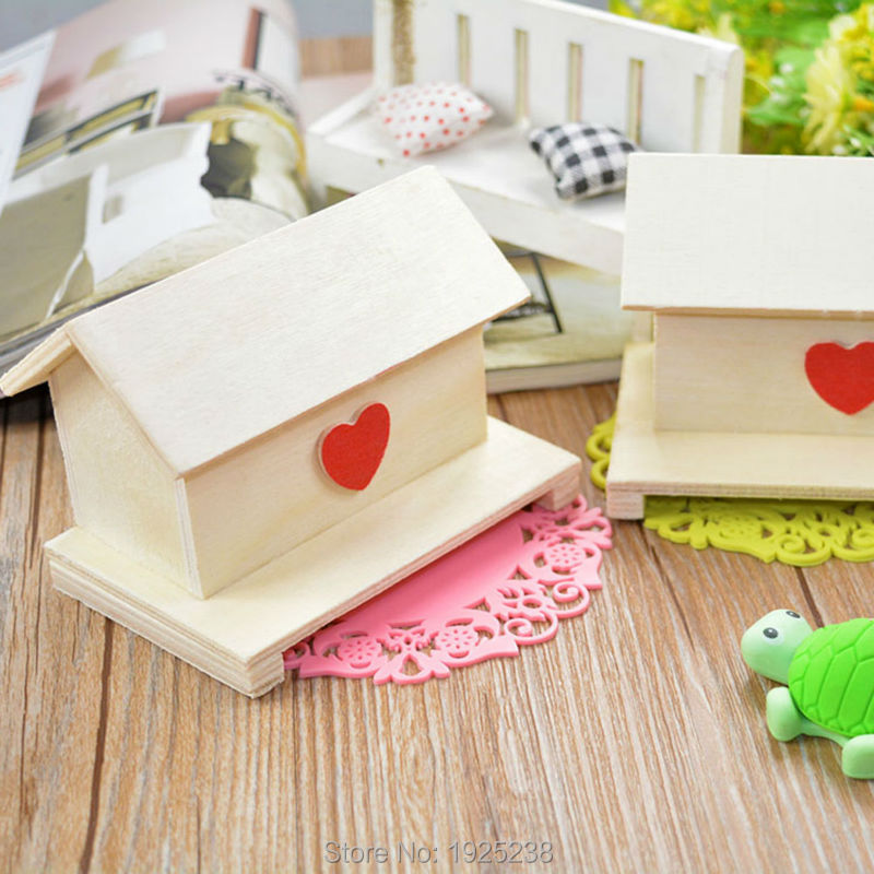 House Room Save Money Crafts Toys Baby Children DIY Piggy Bank Wood Chalet Coin(China (Mainland))