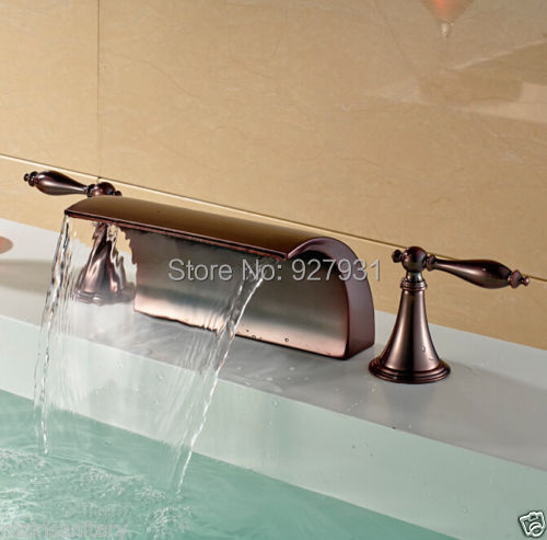 Фотография New Arrive Oil Rubbed Bronze Finished Waterfall Basin Faucet Dual Handles 3pcs Basin Mixer Faucet