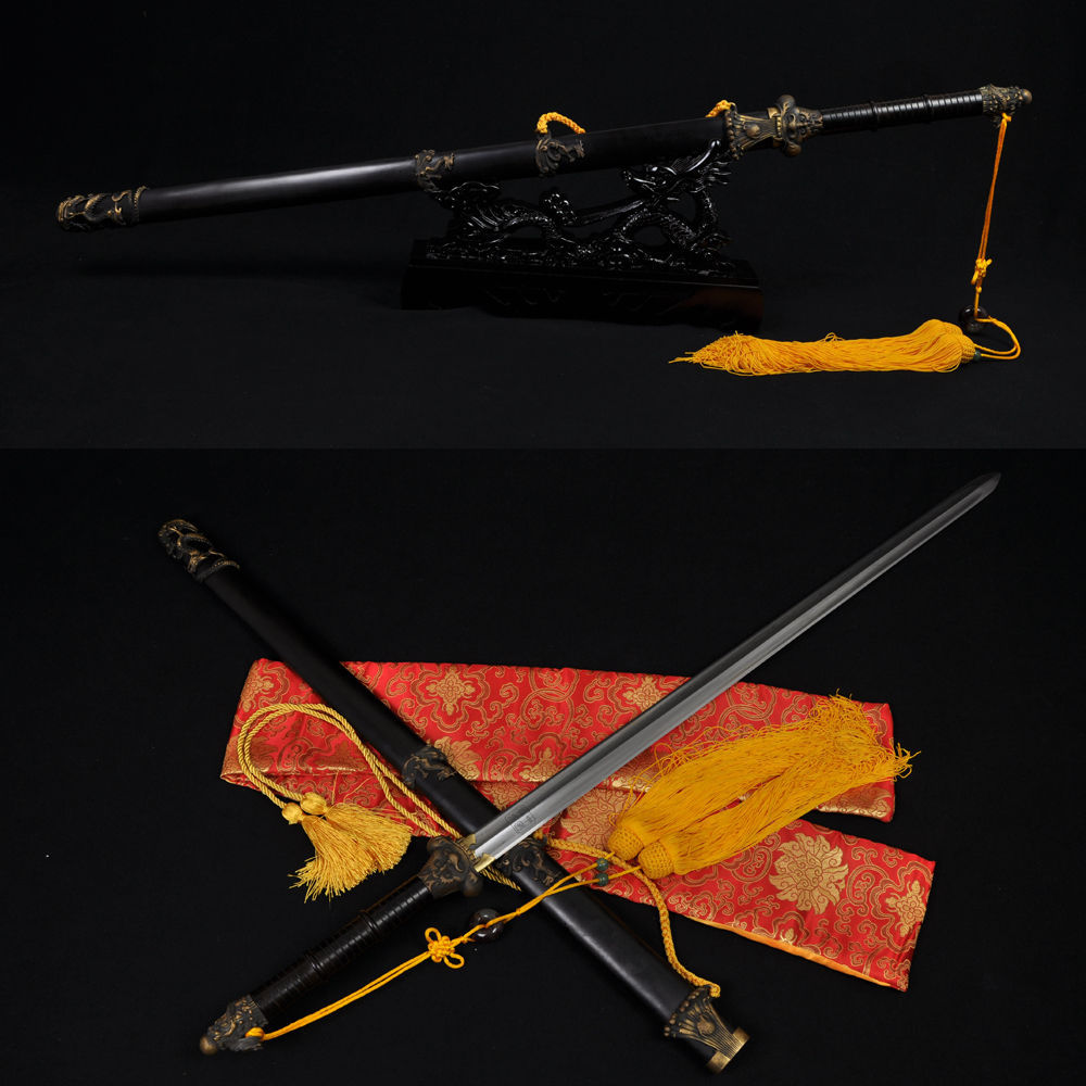 HIGH QUALITY HAND MADE CHINESE DRAGON SWORD JIAN (DRAGON SWORD) FOLDED STEEL BLADE(China (Mainland))