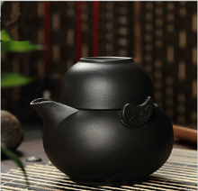 2pcs,1teapot+teacup Korean style black color purple clay quick cup tea pot kung fu tea cup travel tea set,purple clay gaiwan