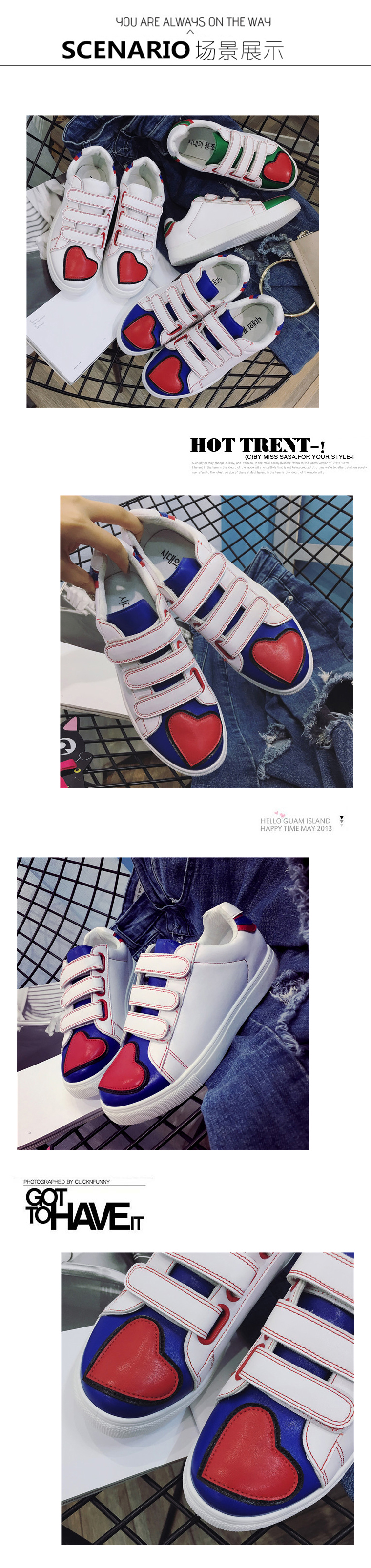 Spring and summer love magic hook white shoe teenager girl rivets Korean flat shoes heart shape women pu leather shoes sapatos