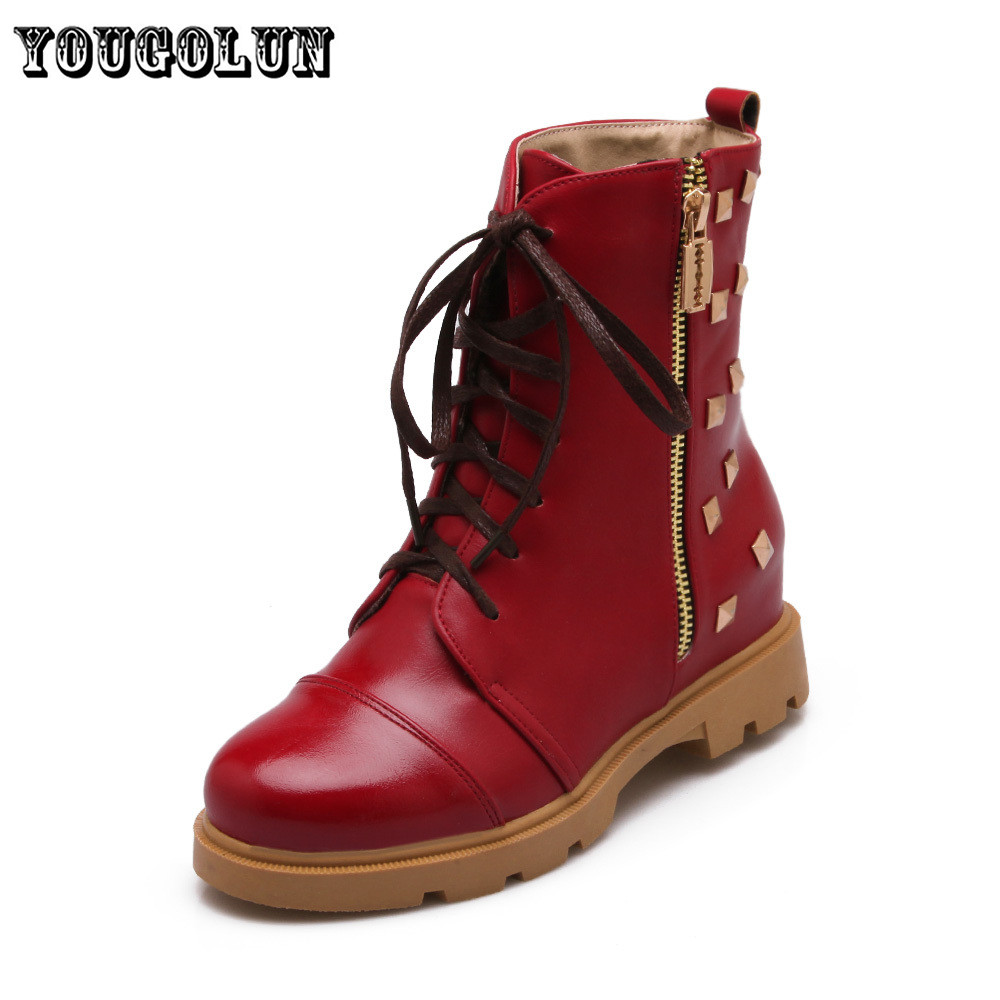 PU leather round toe Rivets low heel fashion women Mid-calf boots shoes,winter Western style platform wedge casual woman shoes<br><br>Aliexpress