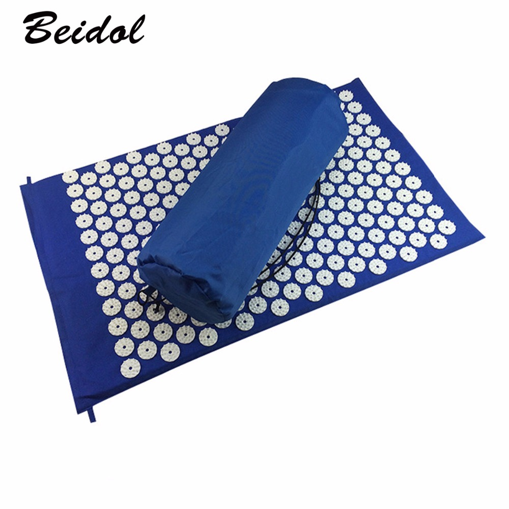 HOT Massager Massage cushion Acupressure Mat Relieve Stress Pain Acupuncture Yoga Mat with Pillow FREE SHIPPING
