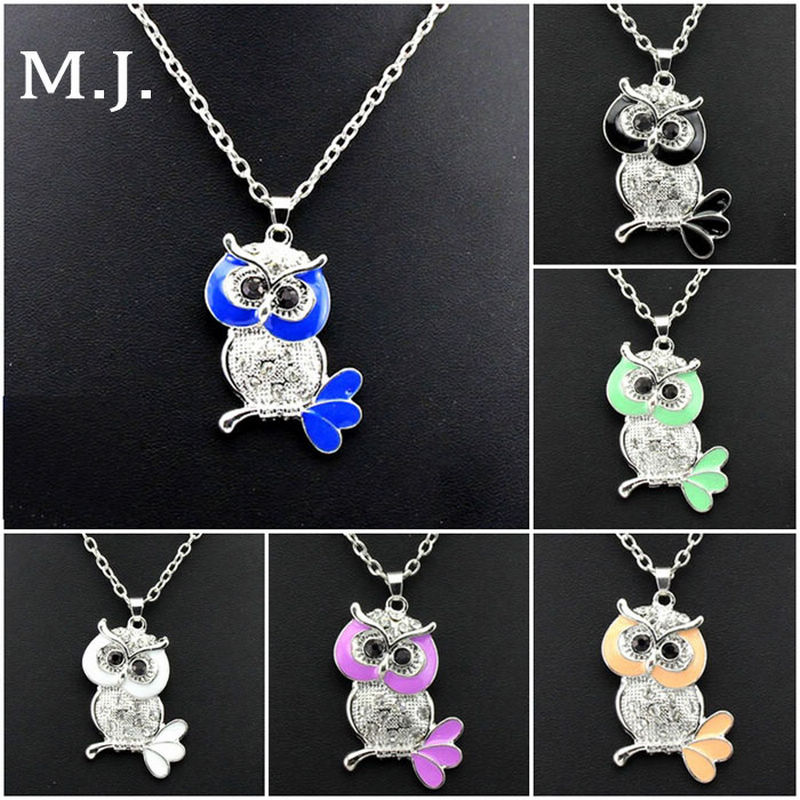 2016 New Fashion Crystal Enamel Owl Pendant Necklace Silver Long Chain Owl Choker Necklace Women Jewelry Collier Femme Bijoux(China (Mainland))