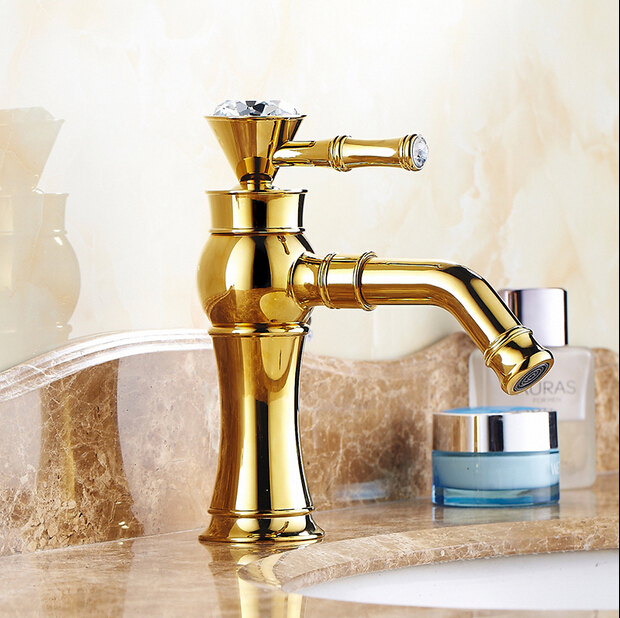 Free Shipping Single Handle Golden Basin Faucet Gold