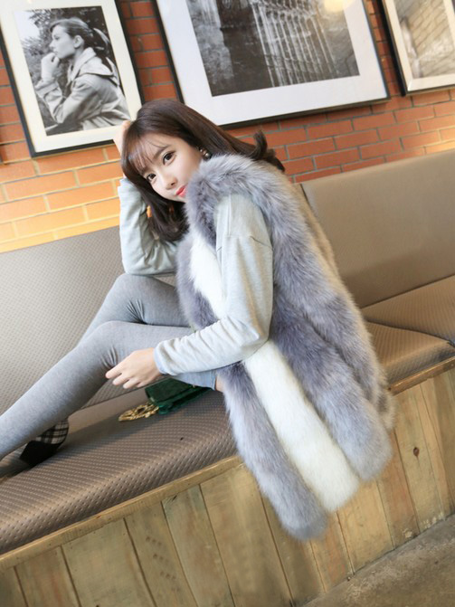 Thick Imitation Fox Fur Vest Medium Long 2013 Korean Fashion Striped Luxury Ladies Faux Fur Coat Waistcoat Fur Outerwear D2439Одежда и ак�е��уары<br><br><br>Aliexpress