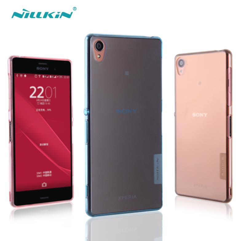 Free Shipping Nillkin Nature Series Ultra Thin TPU Case For Sony Xperia Z3 / L55 Soft Back Cover Gift Screen Protector(China (Mainland))