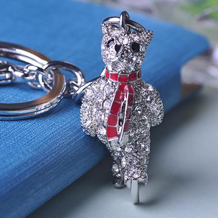 2016 мода каваи медведь брелки сумка украшения высокое качество кристалл устойчивость родием автомобиль украшения chaveiro