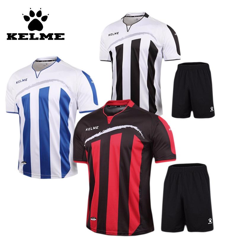 KELME Striped Soccer Jerseys 2016 2017 pro Soccer Uniform survetement Short Sleeved Football Set maillot de foot Customize Logo(China (Mainland))