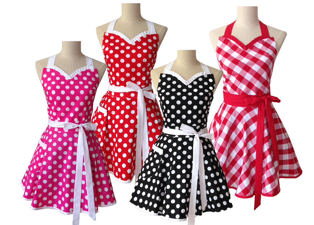 Sweetheart retro kitchen apron for woman cotton polka dot for Cuisine retro 50 s