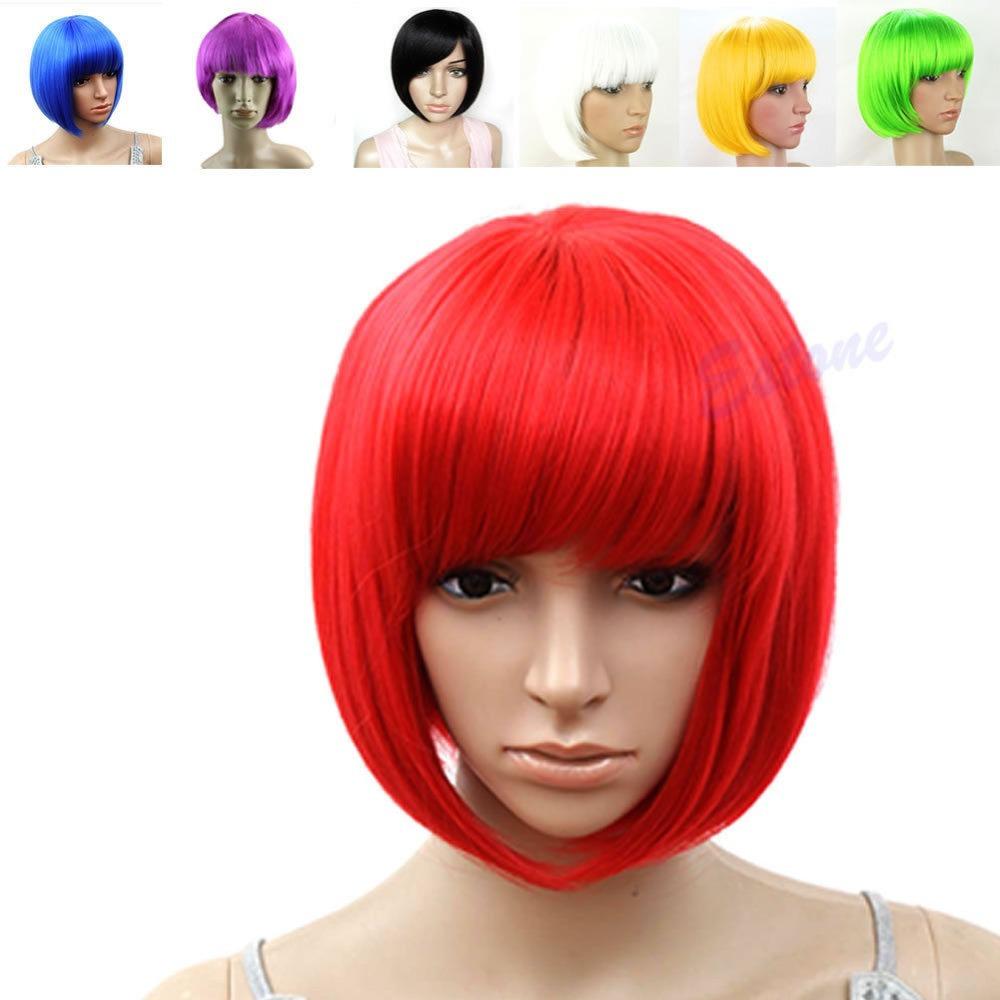 Гаджет  Sexy Women BOBO Head Style Straight Bang Short Wigs Hair Cap Hairnet None Волосы и аксессуары