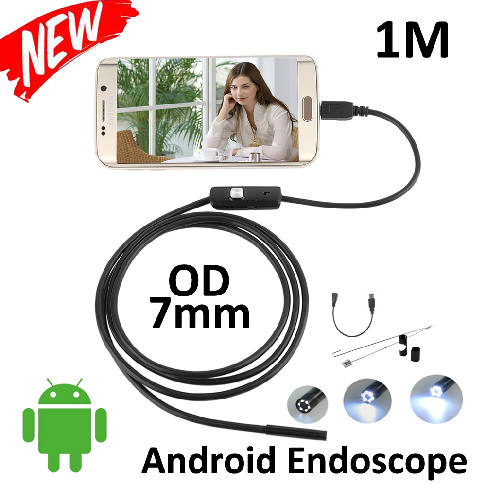1M Micro USB Endoscope Android Camera 7mm Lens IP67 Waterproof Flexbile Snake Pipe inspection OTG USB Android Endoscope Camera(China (Mainland))