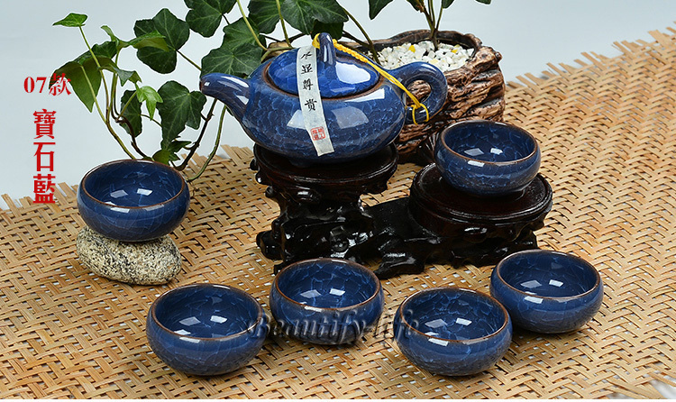 7pcs luxurious Ice Crack teaset, Gong Fu Teapot,china tea cup,porcelain coffee set,Blue color, Good for Gifts,T10(China (Mainland))