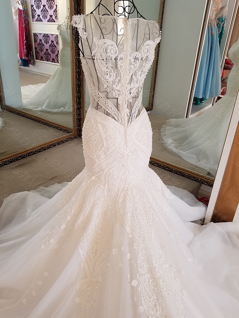 LS17006 Sexy mermaid wedding dress see through back cap sleeves tulle lace wedding gowns 2017 robe de mariee sirene 10