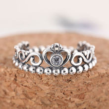Authentic 925 Sterling Silver My Princess Rings For Women Compatible With Pandora Jewelry Clear CZ Stone Crown Silver Rings 2015