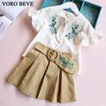 VORO BEVE 2017 New Fashion Children s Clothing Set Children Set Summer Embroidered Speaker Sleeve Style