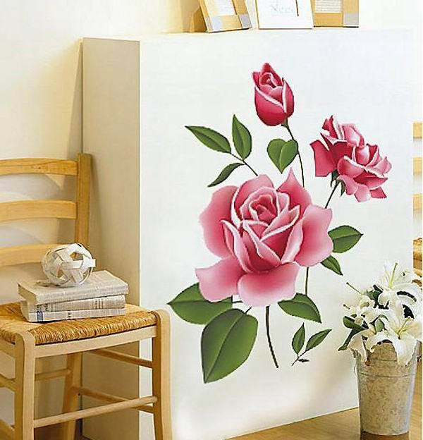 Wholsale Printed Rose PVC Art Removable Wall Stickers Living Room Pegatinas Mural Decal Sticker Home Decor - HOME TODAY store