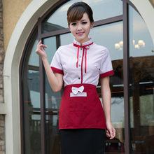 Waiter Waiterss Uniforms Food Service Overalls Short-Sleeved Restaurant Hotel Hot Pot Shop Coffee Supermarket Workwear Top+Apron(China)